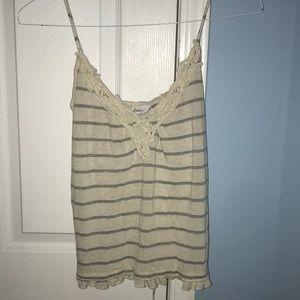 Grey & cream striped tank top w/ crochet neckline